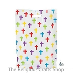 Large Colourful Crosses Plastic Bag - 1 unit