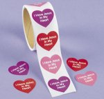Jesus in my heart stickers:  pack of 50