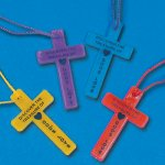 Sunday School Gifts - Bright Cross Necklaces - 1 Unit