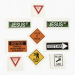 Religious Road Signs Tattoos - Pack of 12