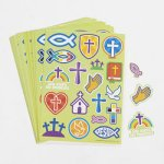 Christian Symbols Stickers - 1 sheet of 18 stickers