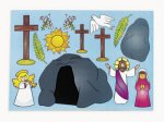 Sunday School Sticker 12 Pack:  Make an Easter Scene