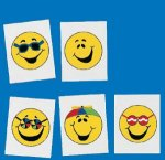 Smiley Face Tattoos - 12 pack