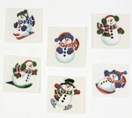 Glitter Snowmen Tattoos:  Pack of 12
