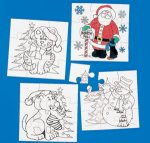 Christmas Colour your own Jigsaw - 12 Pack