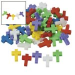 Colourful Plastic Cross Beads - Pack of 20