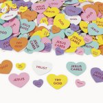 Christian Message Self Adhesive Foam Hearts:  Pack of 50