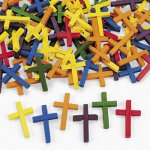 Colourful Wooden Crosses  - Pack of 10