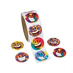 Funky Smiley Face Stickers:  Pack of 50