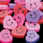 Mini Smile Heart Rubbers - 48 Rubbers