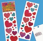 Glitter Heart Stickers - 1 sheet