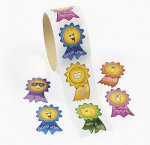 Smiley Face Rosette Stickers - 50 Pack