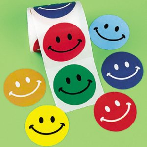 Colourful Smiley Face Stickers - 50 Stickers
