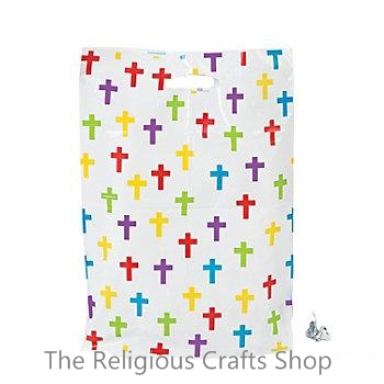 Large Colourful Crosses Plastic Bag:  1 unit
