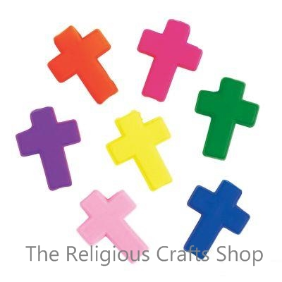 Neon Plastic Cross Beads:  Pack of 25