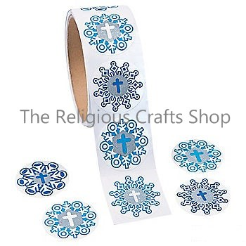 Snowflake and Cross Stickers - Pack of 50