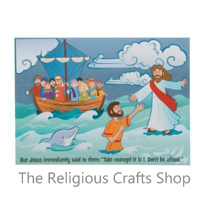 Jesus and Peter Walk on Water Make a Scene Sticker Activity:  Bumper Pack of 25