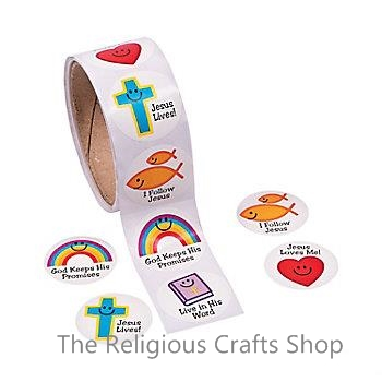 Christian Symbols Smiles Stickers:  Pack of 50