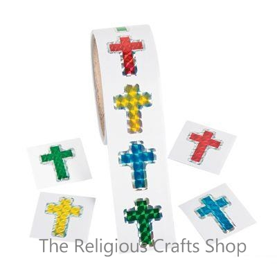 Prism Cross Stickers:  Pack of 50