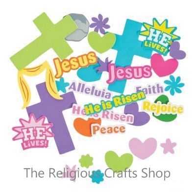 Christian and religious crafts supplies and gift for sunday easter foam crosses with spring shapes and verses pack of 50 negle Gallery