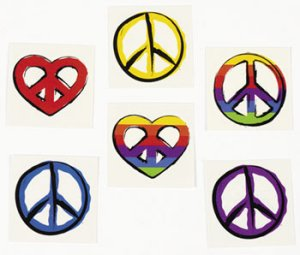 Peace and Love Tattoos:  pack of 12