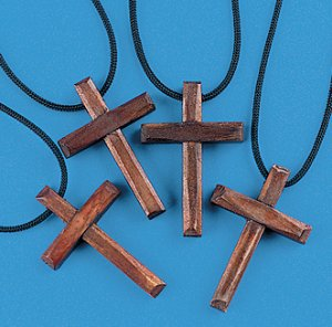 Wooden Cross Necklaces - 12 pack