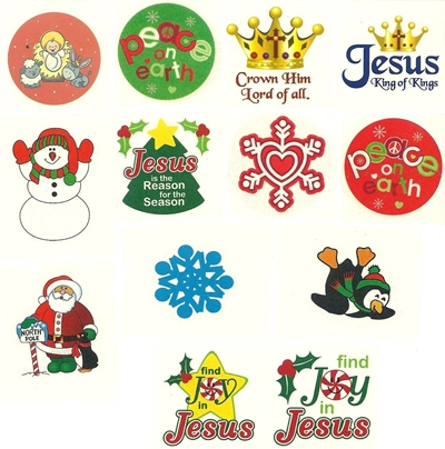 Christmas Tattoo Selection - Pack of 60