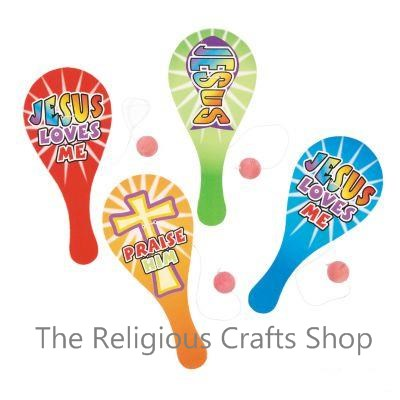 Religious Paddle Bat and Ball - 1 unit