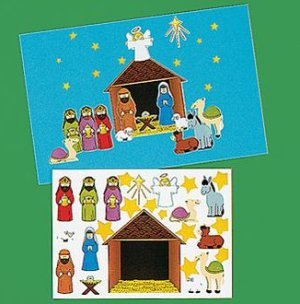 Make a Nativity Scene sticker sheets - Bible school 12 pack