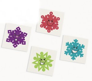 Colourful Snowflake Tattoos:  Pack of 12