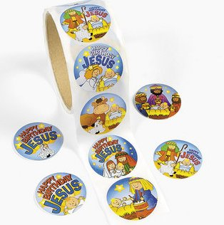 Happy Birthday Jesus stickers:  50 pack