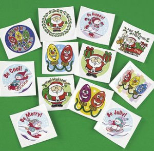 Christmas Fun Tattoos:  Pack of 12