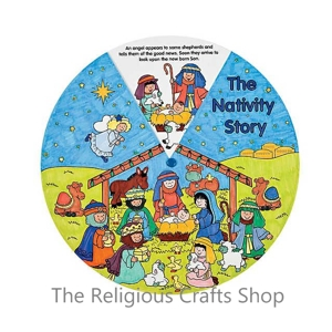 Colour-your-own Nativity Story Wheel - Pack of 12