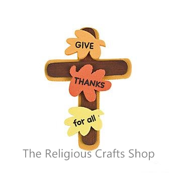 Harvest Craft - Give Thanks Cross Pin Craft - 12 pack