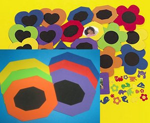 Foam Octagonal Frames with Self Adhesive Shapes - 6 Pack