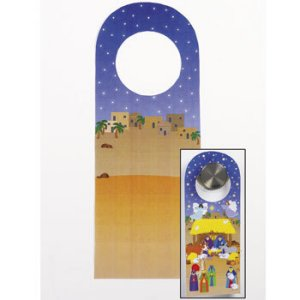 Christmas Craft Nativity Door Hanger Sticker Scenes 12 Pack