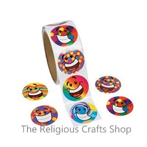 Funky Smiley Face Stickers - Pack of 50
