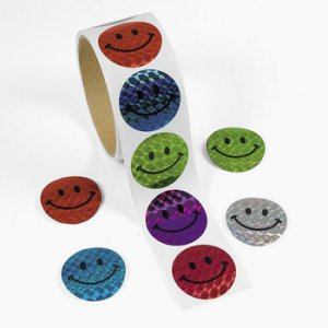 Smiley Face Laser Stickers - 50 Stickers
